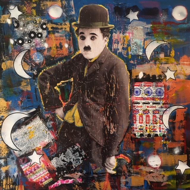 Charlie Chaplin II  Technique mixte sur toile 100 x 100 cm Angelo Garbo