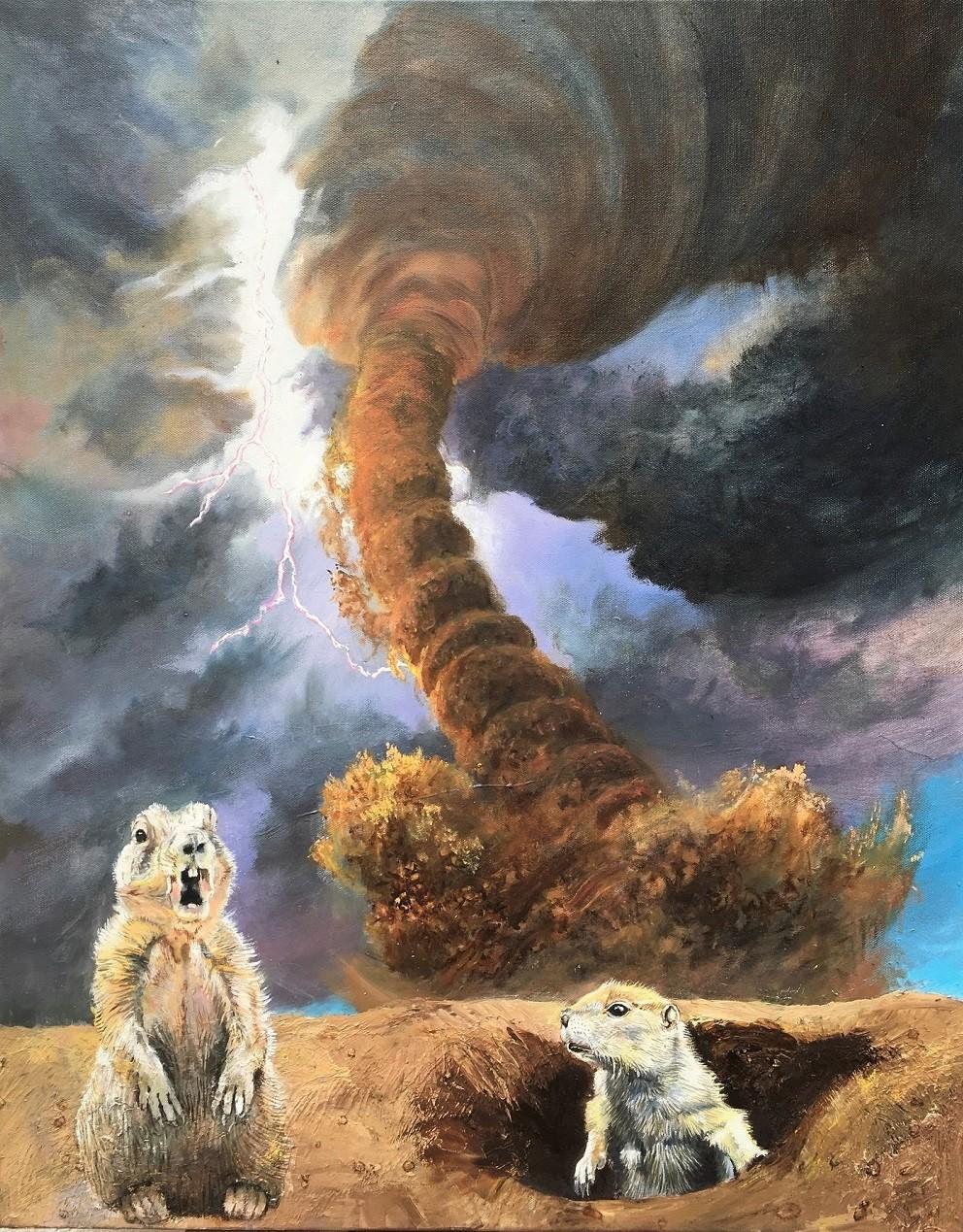 Chiens de prairie et tornade Huile sur toile 76 x 60 cm Gisèle Bryers