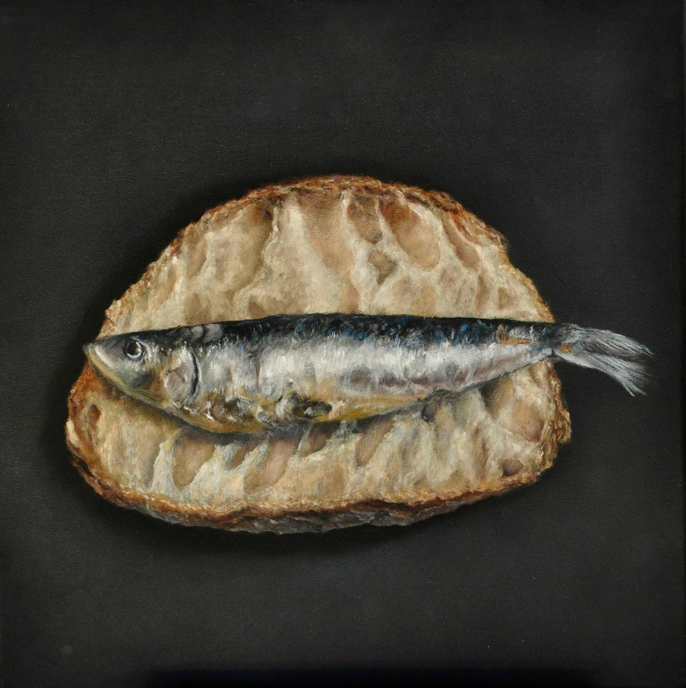 Croque sardine Huile sur toile 40 x 40 cm Colette Plenier-Mudde