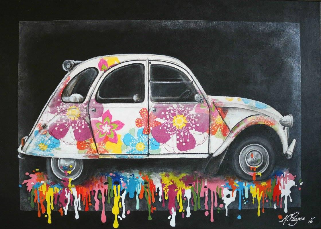 Flower Power Huile sur toile 50 x 70 cm Mireille Payen