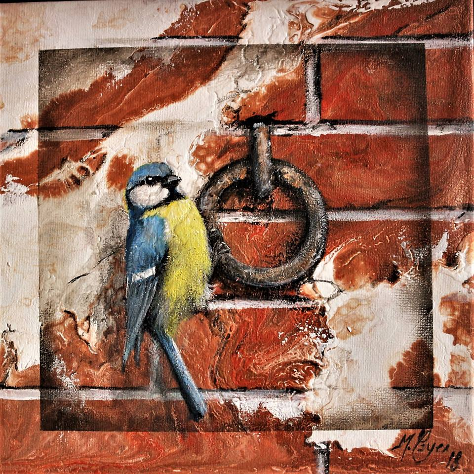 King of the Ring Acrylique et pouring sur carton toilé 25 x 25 cm (collé sur bois 30 x 30 cm) Mireille Payen