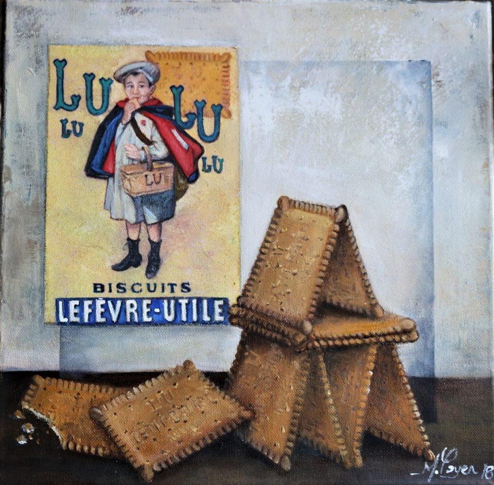 Le chateau de gateaux Huile sur Toile 30 x 30  cm Mireille Payen