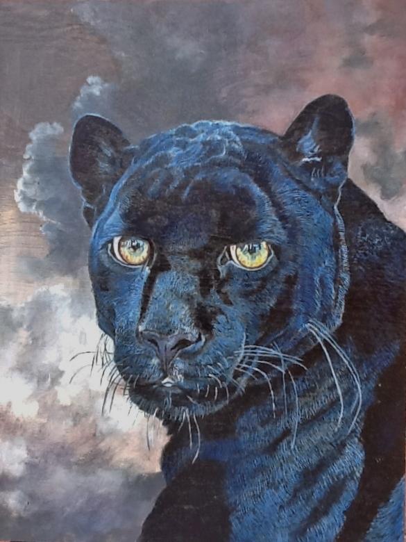 Panthère noire (Jaguar mélanitique) Huile sur bois 40 x 30 cm  Gisèle Bryers