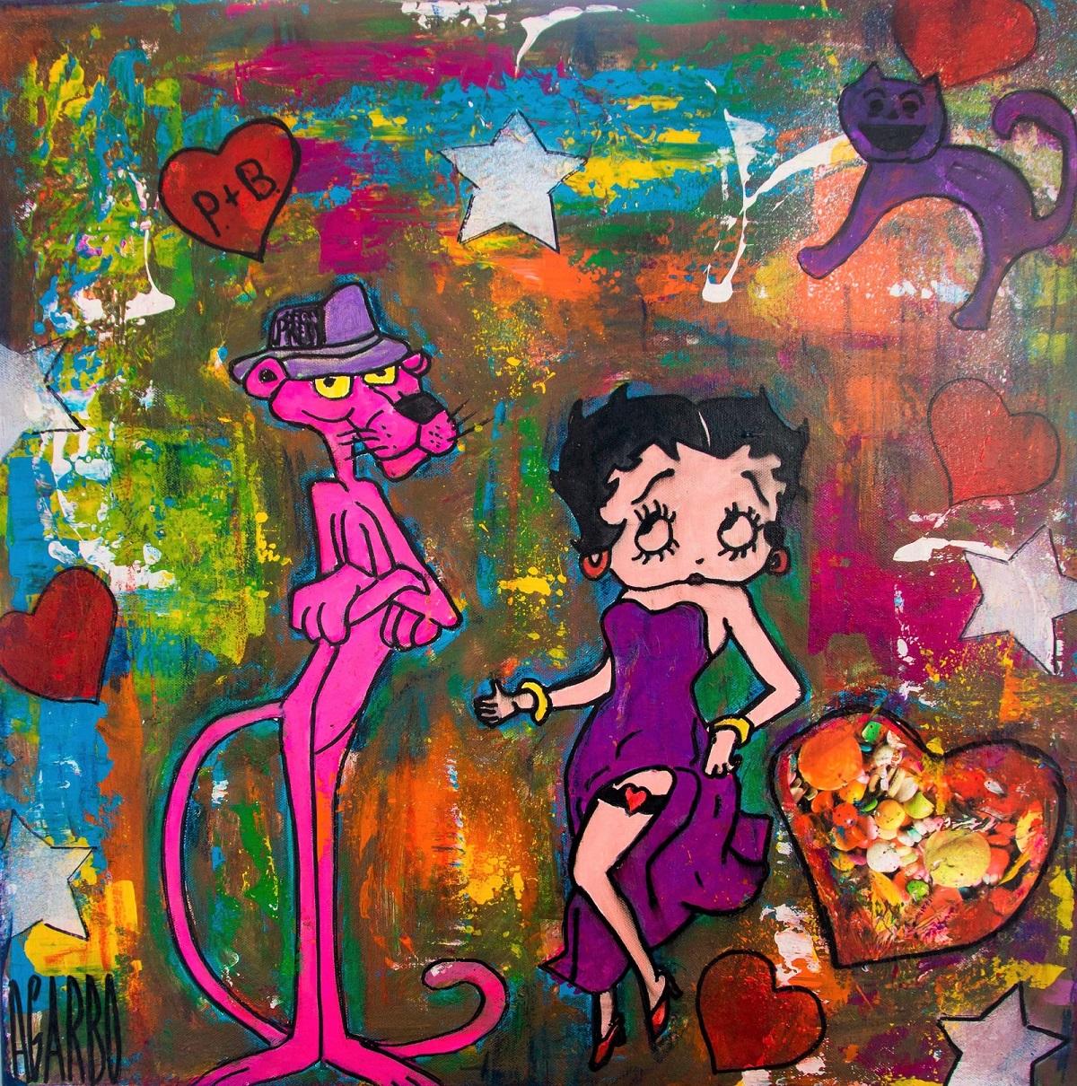 Pink pantère et Betty Boop Technique mixte sur toile  60 x 60 cm Angelo Garbo