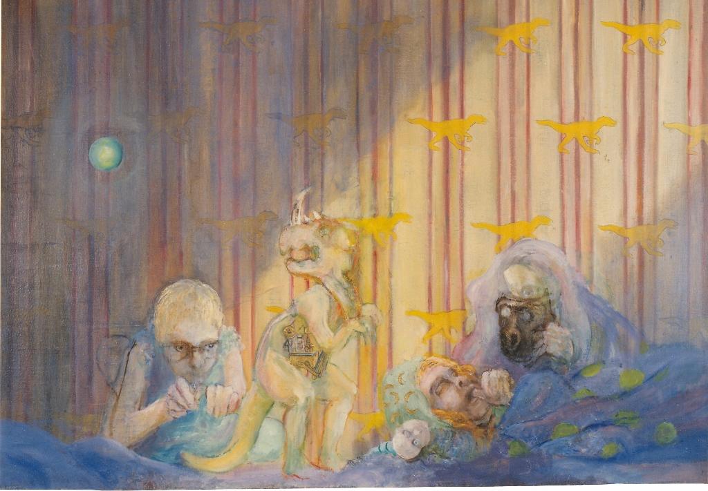 Soirée pyjama  Huile sur toile de lin   81 x 116 cm Gisèle Bryers