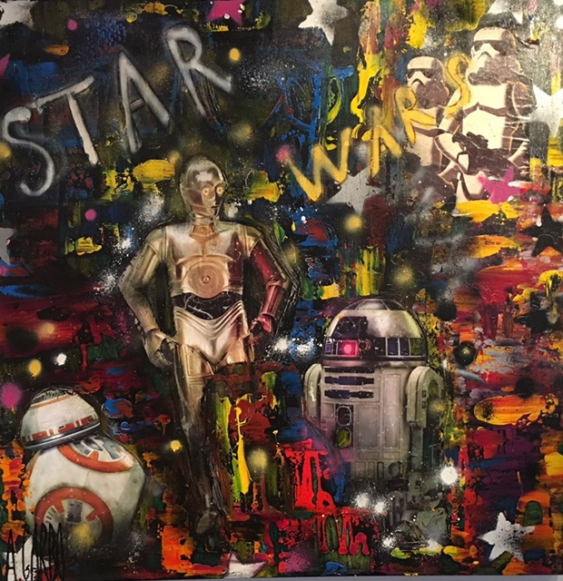 Star Wars Technique mixte sur toile  100 x 100 cm  Angelo Garbo
