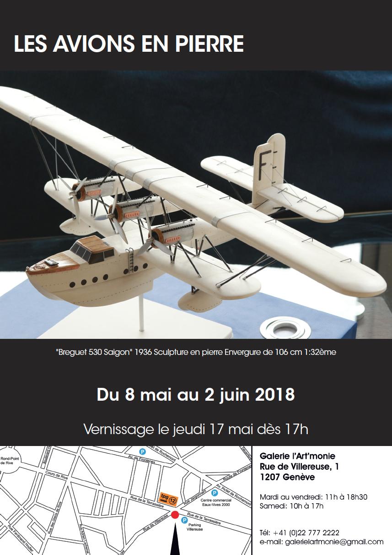 Invitation à l'exposition des avions en pierre à la Galerie l'Art'monie Genève