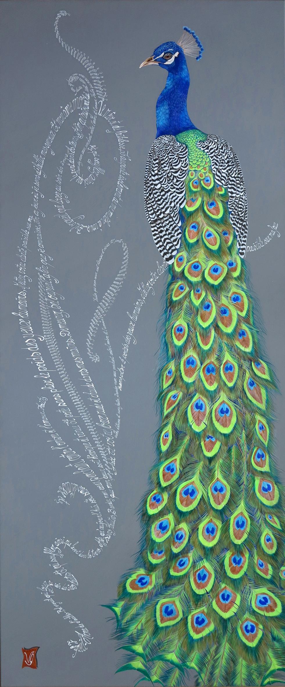 L'orgueil Acrylique et calligraphie d'après le poème d'Anna de Noailles, 120 x 50 cm Valerie Glasson