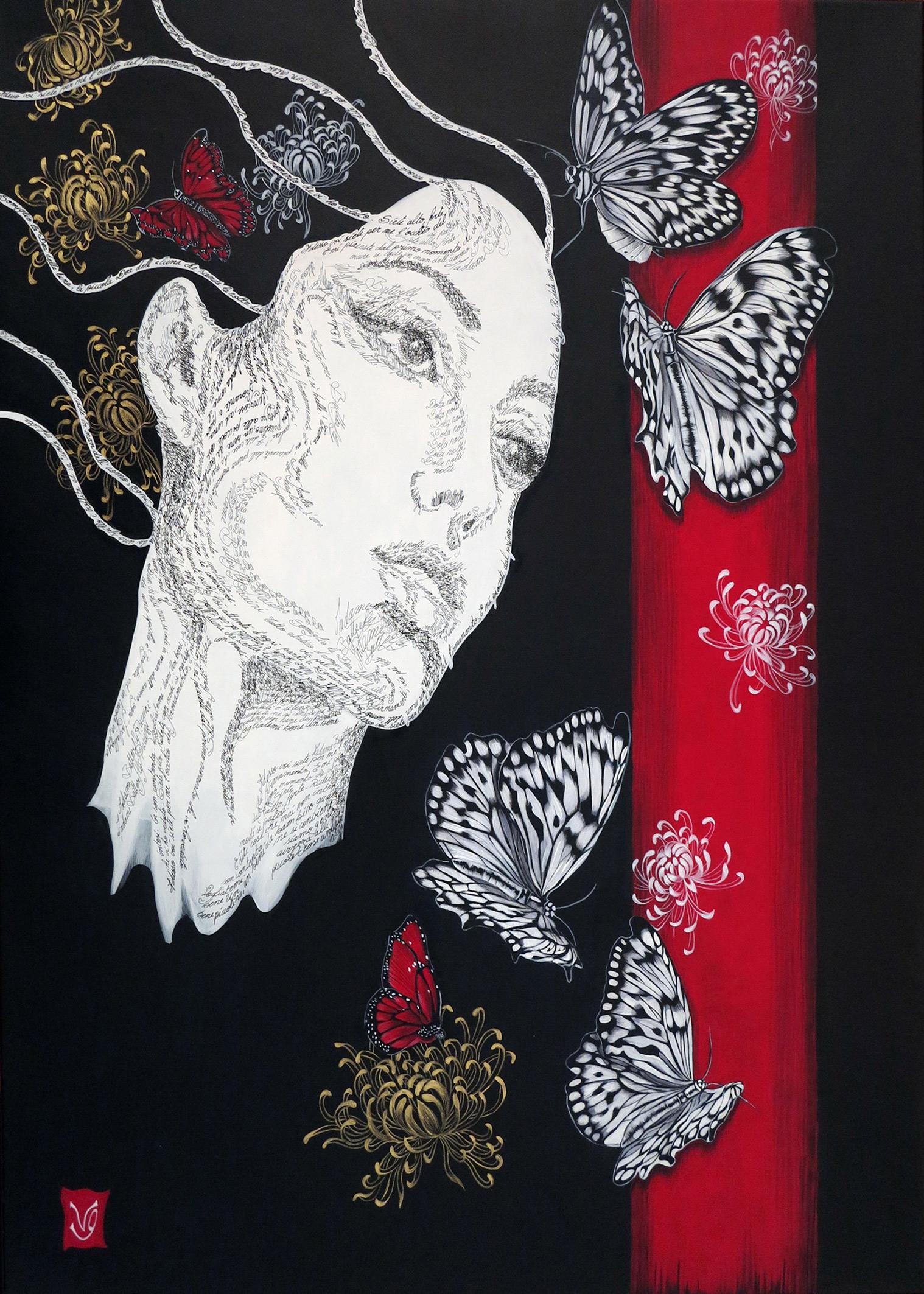 Madame Butterfly Acrylique et calligraphie d'après le livret de Puccini, 80 x 60 cm Valerie Glasson