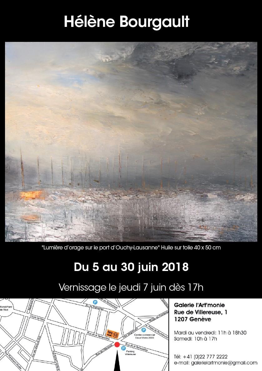 Invitation à l'exposition de l'artiste Hélène Bourgault à la Galerie l'Art'monie Genève