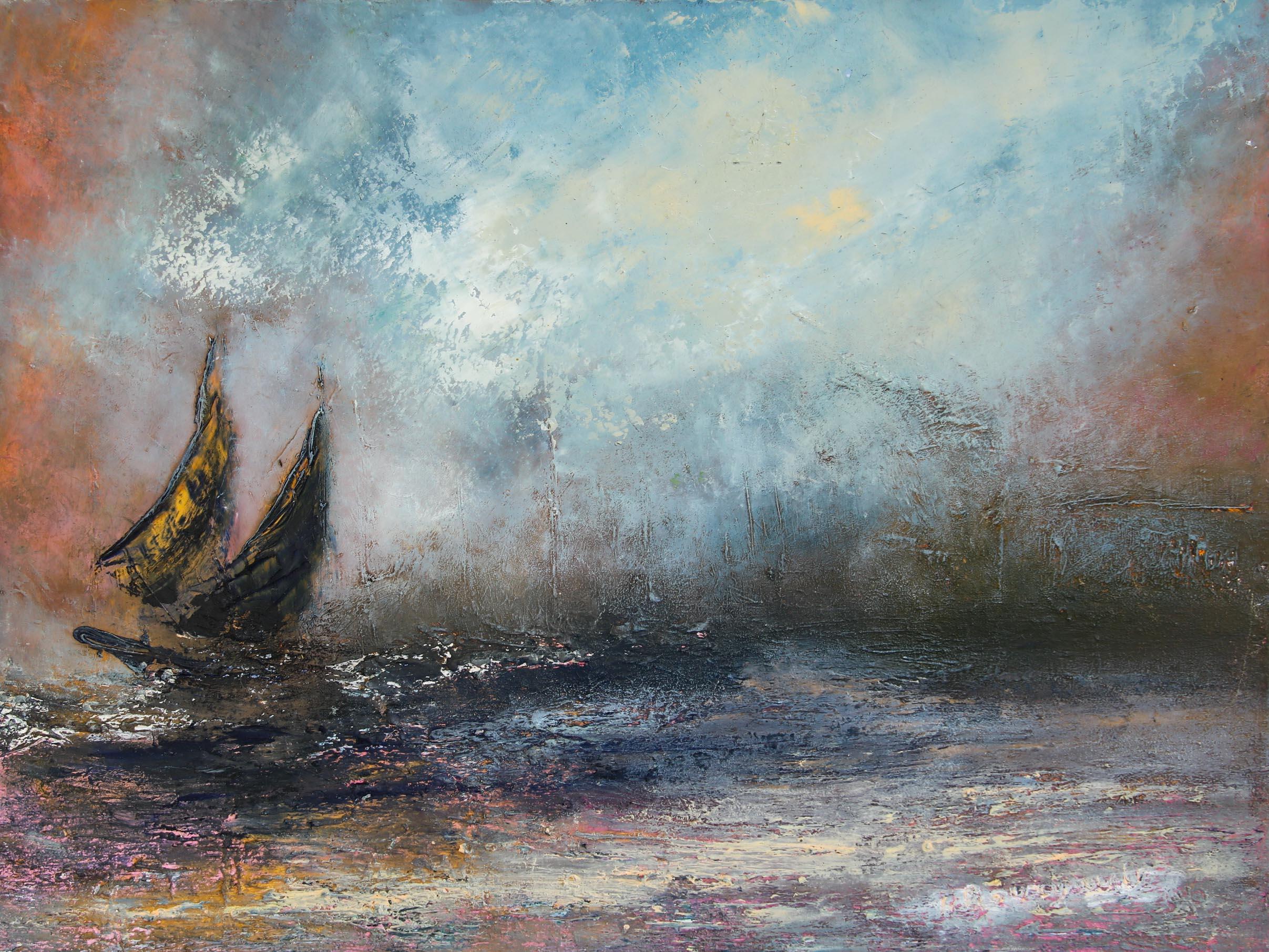 Les voiliers sur le lac Léman Huile sur toile 46 x 61 cm Hélène Bourgault