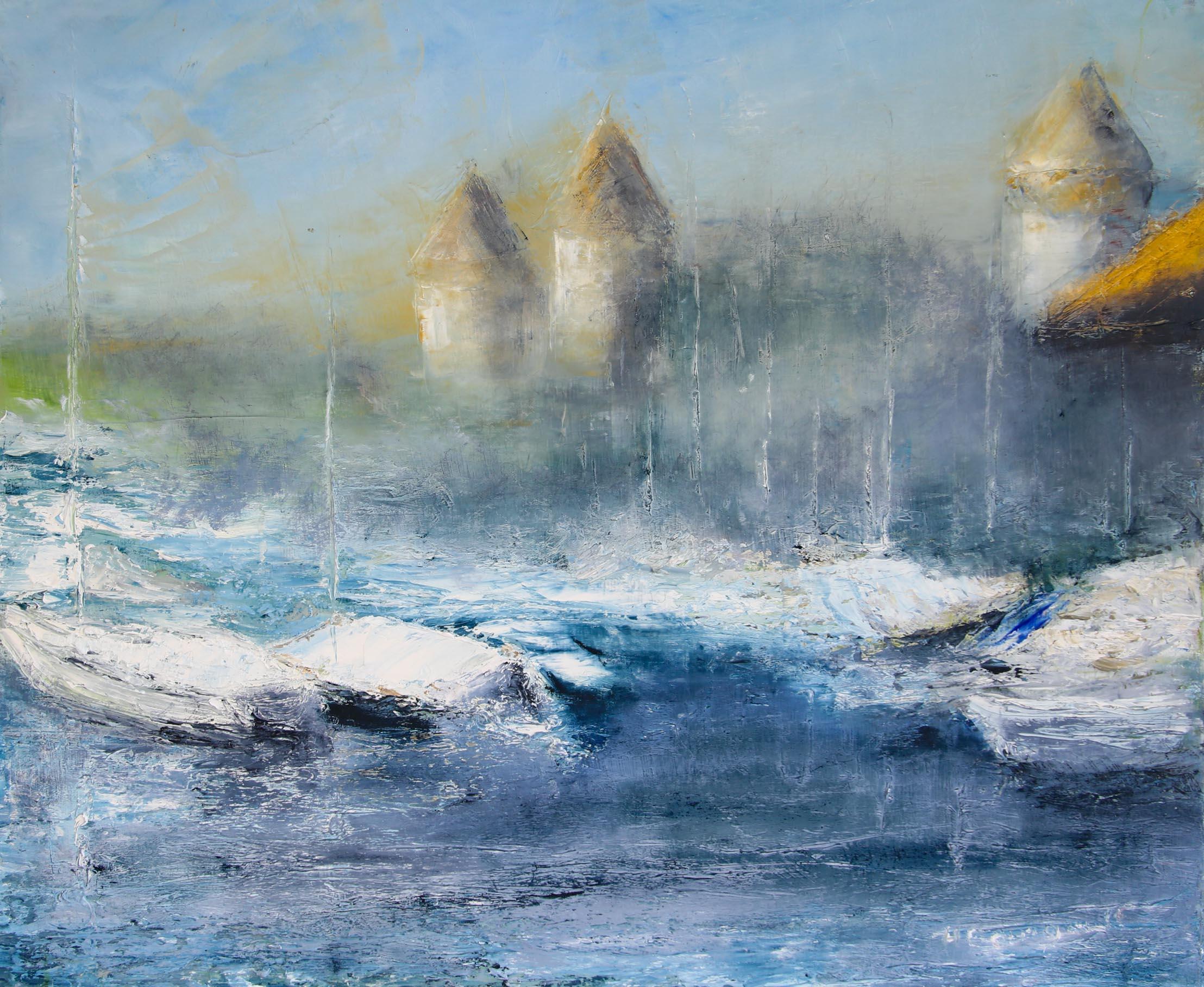 Morges, son port et son château 50 x 60 cm Hélène Bourgault