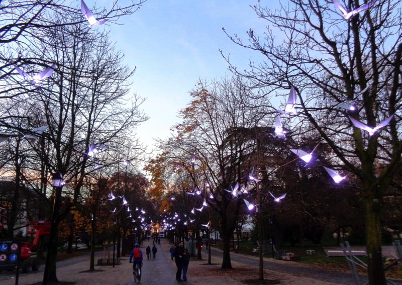 """Les oiseaux dans les arbres à l'occasion du festival """"Geneva Lux"""""""