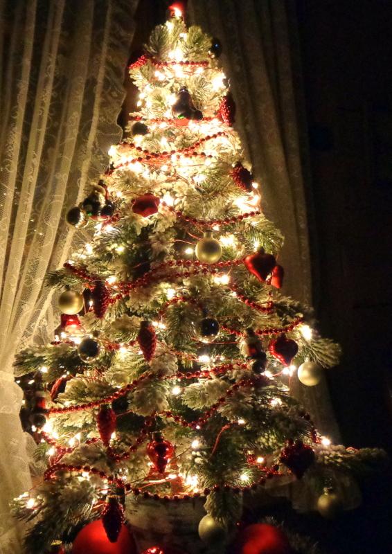 Des sapins de Noël trônent encore dans certains salons, surtout s'ils sont synthétiques...