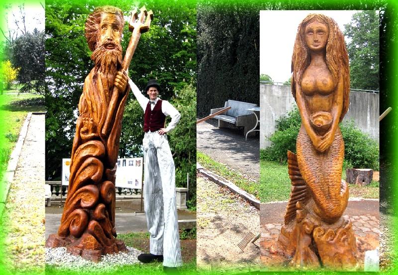 Les deux sculptures qui trônaient jusqu'à il y a peu dans le parc de Beau-Séjour