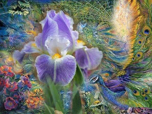 Fleur d'iris : Oeuvre de Bijoujade réalisée en technique mixte : peinture, photographie