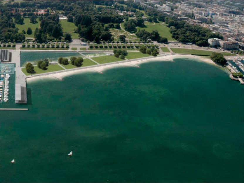 La nouvelle plage publique des Eaux-Vives : image de synthèse réalisée par les concepteurs