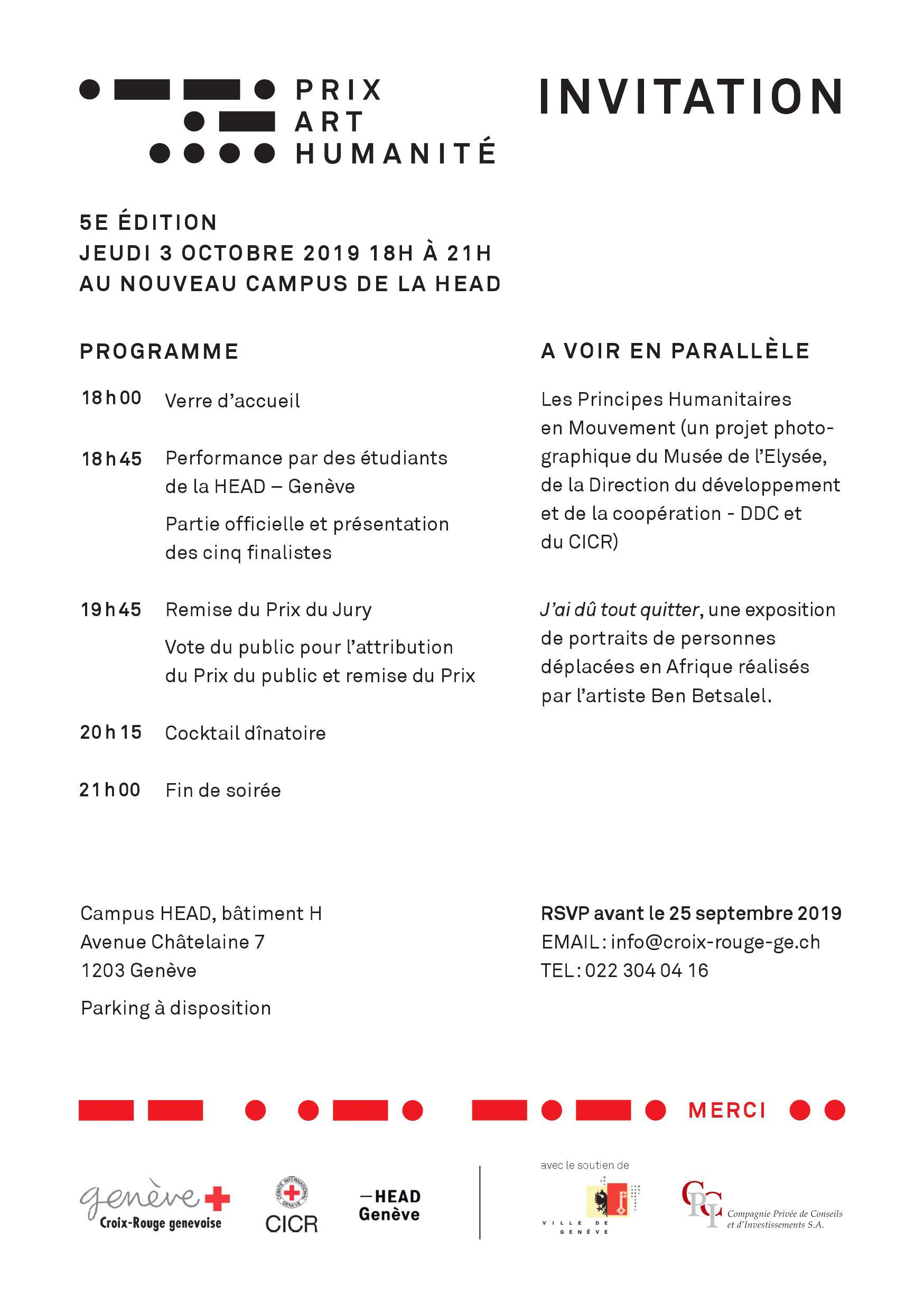 Invitation Prix Art Humanité 2019