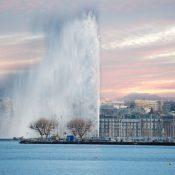 Genève au soleil couchant