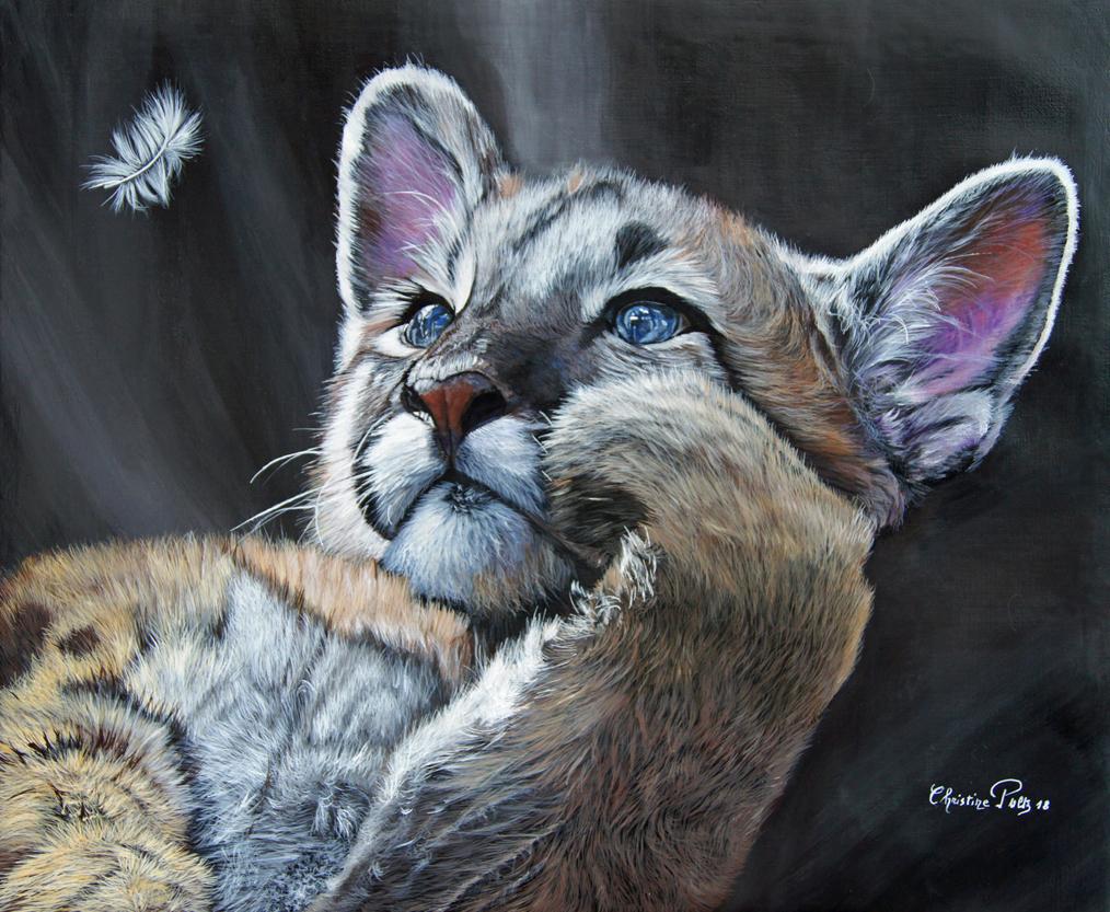 Puma à la plume Huile sur toile de lin 54 x 65 cm