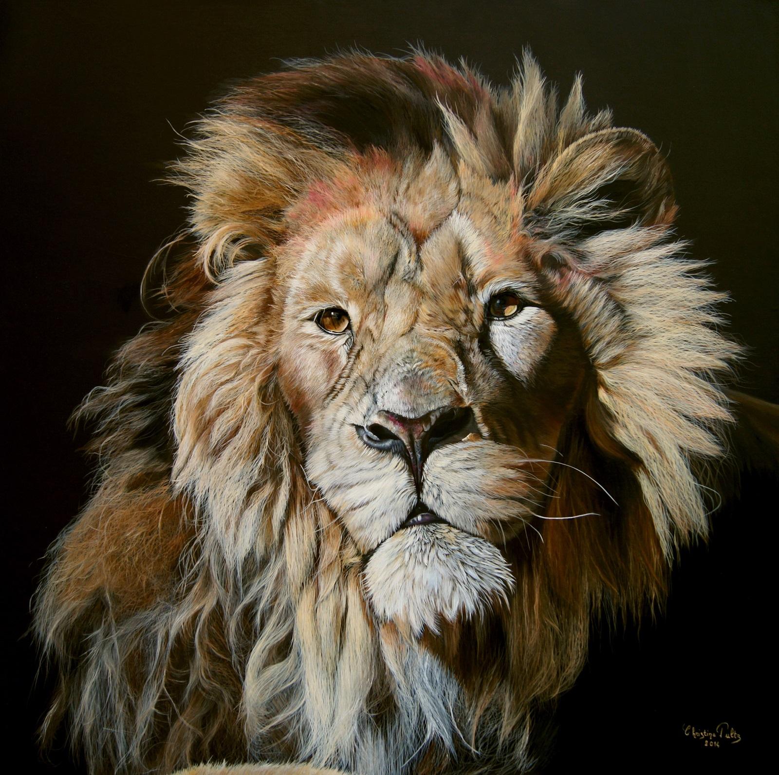The king Huile sur toile de lin 80 x 80 cm