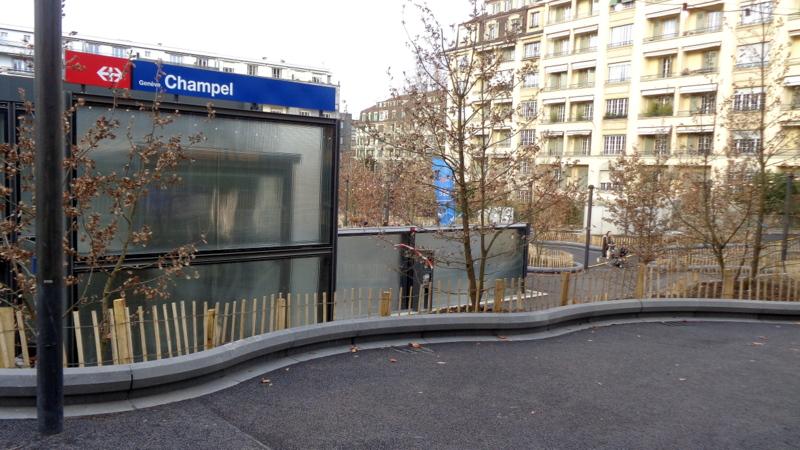 9. C.-H. La gare de Champel-Hôpital avec de nombreuses plantations d'arbres