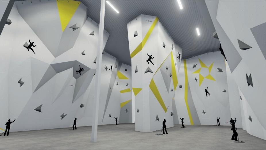 Vue 3D de la future salle d'escalade. © DR