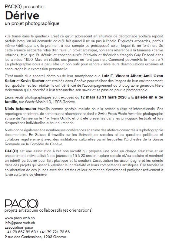 flyer de l'exposition Dérive