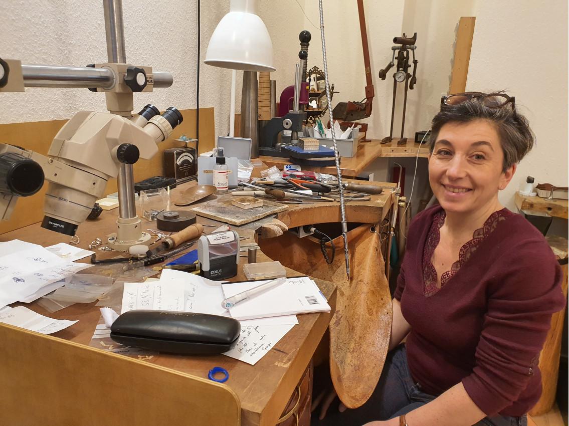 Marta Sanchez dans son atelier de création.