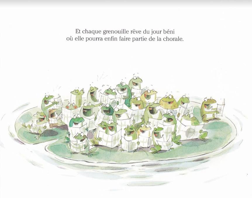 """""""Choeur de grenouilles"""", Luc Foccroulle et illustrations c. 2009 Annick Masson Textes c.2009 Editions Mijade"""