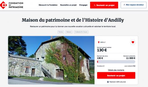 Lancement de l'appel aux dons pour la Maison du patrimoine et de l'Histoire d'Andilly